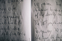 Handwritten pages from visitors to the My Lai Massacre Museum in Quang Ngai Province in central Vietnam.