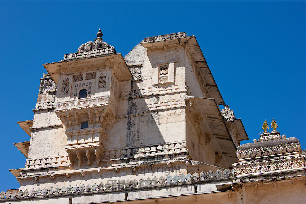 Detail of The City Palace of 76th Maharana of Mewar, Shriji Arvind Singh Mewar of Udaipur in the Zenana Mahal, Rajasthan, India