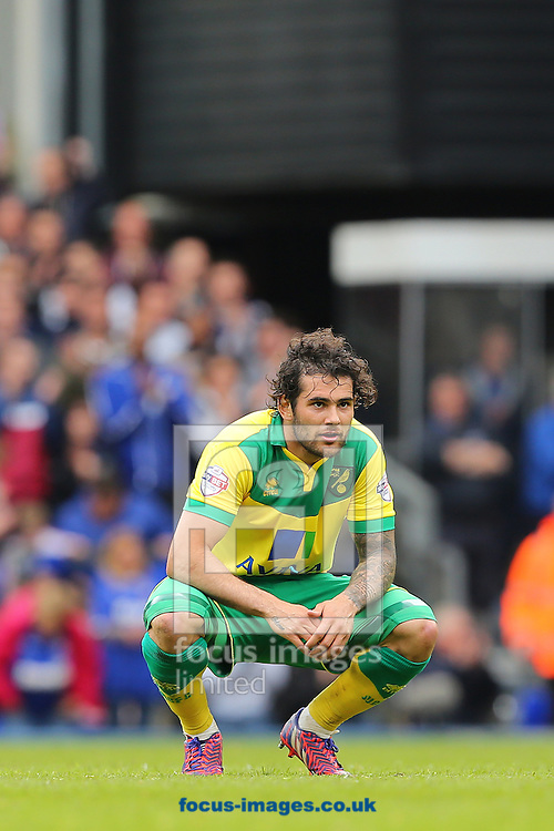Bradley Johnson of Norwich City at the final whistle during the Sky Bet Championship play off semi final first leg at Portman Road, Ipswich<br /> Picture by Richard Calver/Focus Images Ltd +44 7792 981244<br /> 09/05/2015