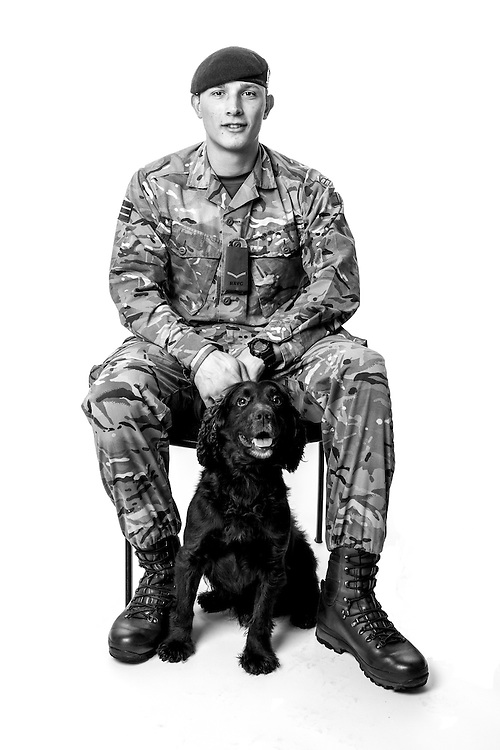 Cameron Watson, Army - Royal Army Veterinary Corps, Lance Corporal, Dog Handler, Bob is an Arms Explosive Search dog, Operations: Herrick,  Veterans Portrait Project UK Sennelager Germany