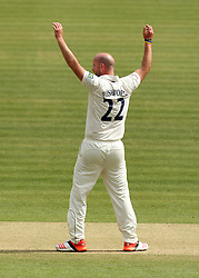 Durham's Chris Rushworth celebrates the wicket of Middlesex's Ollie Rayner - Photo mandatory by-line: Robbie Stephenson/JMP - Mobile: 07966 386802 - 03/05/2015 - SPORT - Football - London - Lords  - Middlesex CCC v Durham CCC - County Championship Division One
