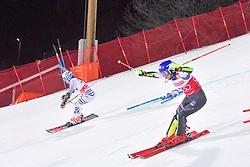 19.02.2019, Stockholm, SWE, FIS Weltcup Ski Alpin, Parallelslalom, Damen, im Bild v.l. Mikaela Shiffrin (USA), Christina Geiger (GER), // f.l. Mikaela Shiffrin of the USA Christina Geiger of Germany in action during the ladie's parallel slalom of FIS ski alpine world cup at the Stockholm, Sweden on 2019/02/19. EXPA Pictures © 2019, PhotoCredit: EXPA/ Nisse Schmidt<br /> <br /> *****ATTENTION - OUT of SWE*****