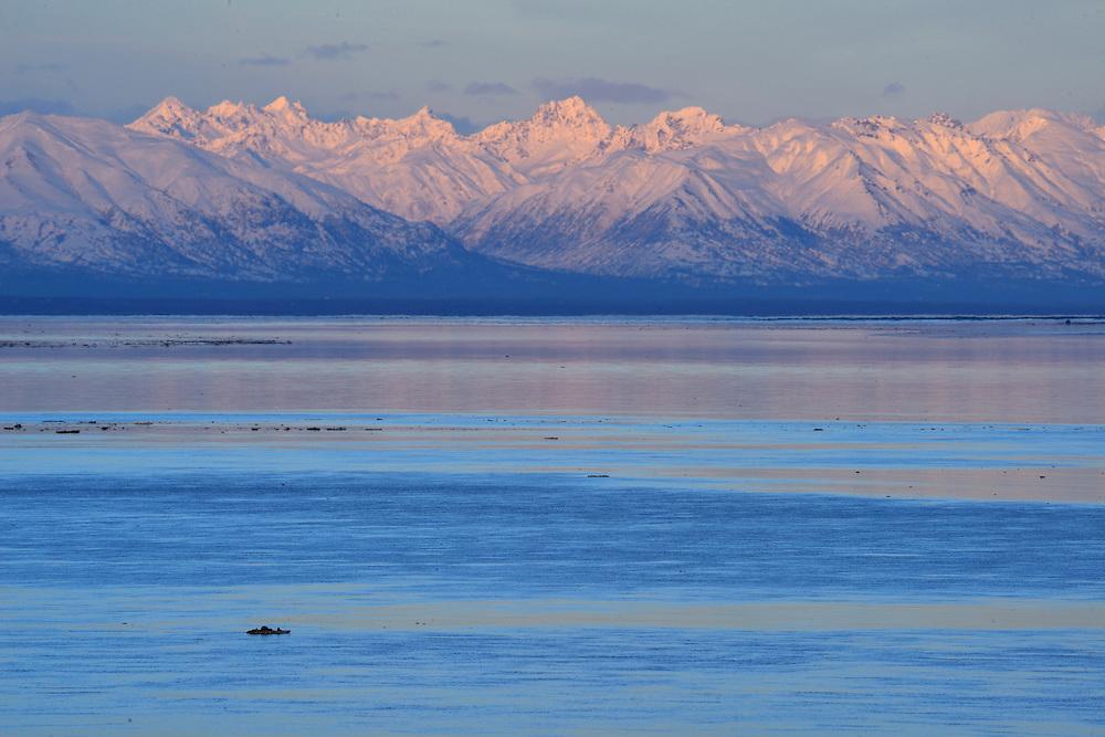 Alaska Range seen from Anchorage,Alaska,USA