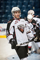 KELOWNA, CANADA - OCTOBER 3: Trevor Cheek #14 of the Vancouver Giants skates on the ice during warm up against the Kelowna Rockets on October 3, 2012 at Prospera Place in Kelowna, British Columbia, Canada (Photo by Marissa Baecker/Getty Images) *** Local Caption ***