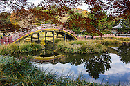 "Soribashi Bridge at Shomyoji - Shomyoji was built by Sanetoki Hojo during the Kamakura period, and was made the Hojo family temple of the Kanazawa area. The Jodo style garden with Ajiike Pond in front of the main temple is its most unique feature when considering the arched bridge. The temple's bell was portrayed in the woodblock print ""Shomyo-no-Bansho,"" one of eight prints depicting views of Kanazawa by Hiroshige Utagawa."