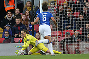 Everton women goalkeeper Tinja-Riikka Korpela (23) gets down to gather the low shot during the FA Women's Super League match between Liverpool Women and Everton Women at Anfield, Liverpool, England on 17 November 2019.