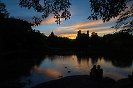 Sunset at Turtle Pond in Central Park.