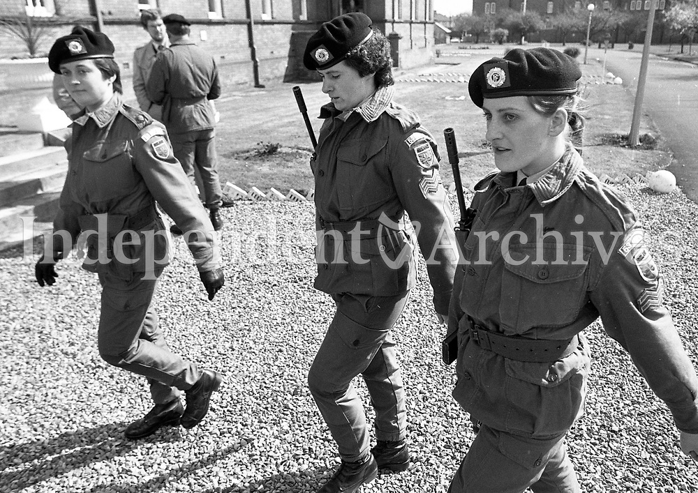 Cpl Meave Magennis, Blackrock, of the 53rd Infantry Battalion at McKee Barracks prior to departure to Lebanon on UN Duty, 12/04/1983 (Part of the Independent Newspapers Ireland/NLI Collection).