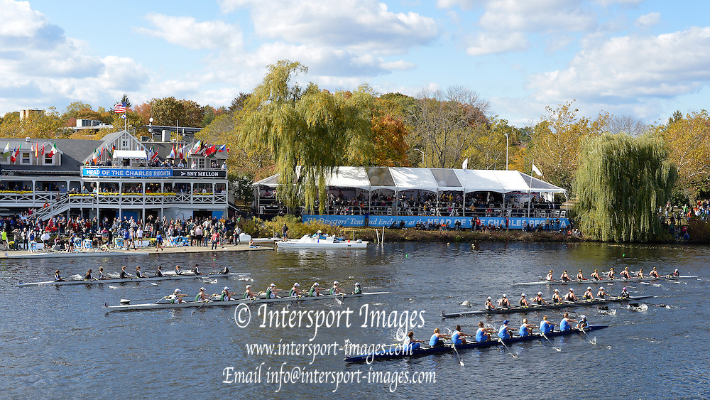 "Boston,  USA  ."" 2012 Head of the Charles"".  ..Description;  Youth Women's Rowing,  Multi lane racing as five women's eight approach Eliot bridge in the 2012 Head of the Charles. ,.Crews top to bottom No. 42, Old Dominion BC,  No. 35, Fr of Shenendehowa, No. 41, Radnor High School, No.43, Saugatuck RC and No. 40, Antony Wayne HS.. ..14:18:14  Sunday  21/10/2012 ...[Mandatory Credit: Peter Spurrier/Intersport Images]"
