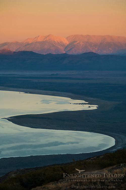 Overlooking Mono Lake at sunset looking towards the distant White Mountains; Eastern Sierra; Mono County; California