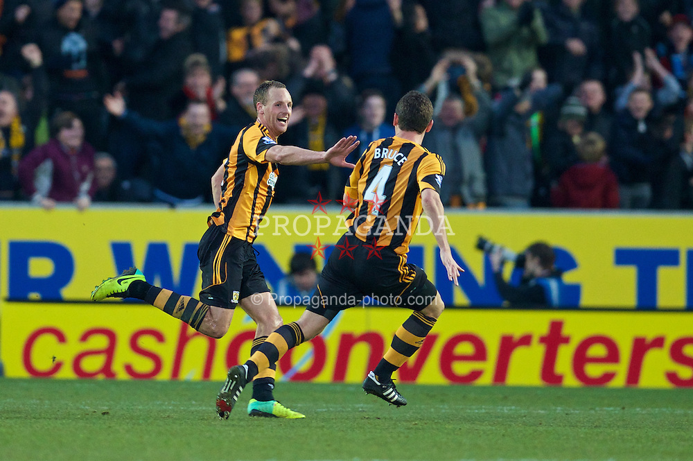 HULL, ENGLAND - Sunday, December 1, 2013: Hull City's David Meyler celebrates scoring the second goal against Liverpool during the Premiership match at the KC Stadium. (Pic by David Rawcliffe/Propaganda)
