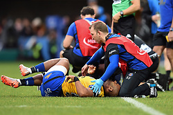 Aled Brew of Bath Rugby is treated for an injury - Mandatory byline: Patrick Khachfe/JMP - 07966 386802 - 15/12/2019 - RUGBY UNION - Stade Marcel-Michelin - Clermont-Ferrand, France - Clermont Auvergne v Bath Rugby - Heineken Champions Cup