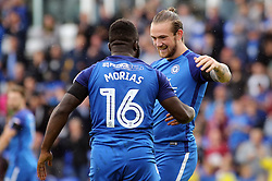 Jack Marriott of Peterborough United celebrates scoring the opening goal with Junior Morias - Mandatory by-line: Joe Dent/JMP - 19/08/2017 - FOOTBALL - ABAX Stadium - Peterborough, England - Peterborough United v Rotherham United - Sky Bet League One