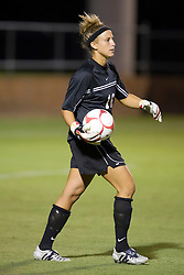 Loyola Greyhounds goalkeeper Brittany Henderson (16) in action against UVA.  The #6 Virginia Cavaliers defeated the Loyola College Greyhounds 4-0 in a NCAA Women's Soccer game held at Klockner Stadium on the Grounds of the University of Virginia in Charlottesville, VA on August 22, 2008.