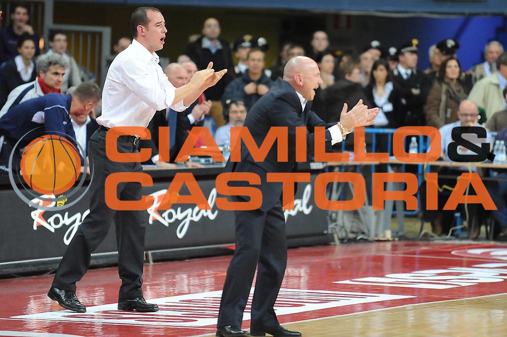 DESCRIZIONE : Pesaro Lega A 2009-10 Scavolini Spar Pesaro Vanoli Cremona<br /> GIOCATORE : Luca Dalmonte Giacomo Baioni<br /> SQUADRA : Scavolini Spar Pesaro <br /> EVENTO : Campionato Lega A 2009-2010<br /> GARA : Scavolini Spar Pesaro Vanoli Cremona<br /> DATA : 06/12/2009<br /> CATEGORIA : esultanza<br /> SPORT : Pallacanestro<br /> AUTORE : Agenzia Ciamillo-Castoria/M.Marchi<br /> Galleria : Lega Basket A 2009-2010 <br /> Fotonotizia : Pesaro Campionato Italiano Lega A 2009-2010 Scavolini Spar Pesaro Vanoli Cremona<br /> Predefinita :