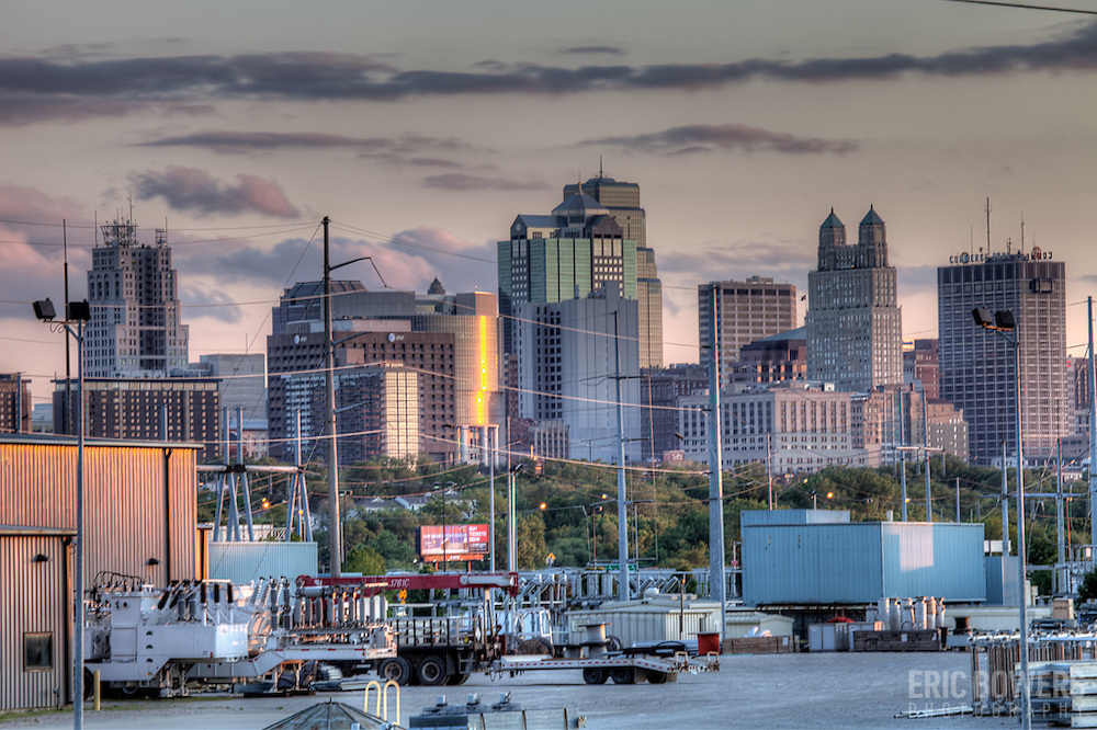 Downtown Kansas CIty MO skyline from near Front Street & Olive by the Missouri River.