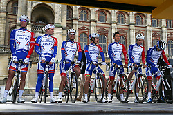 March 10, 2019 - Paris, Ile-de-France, France - Groupama FDJ cycling team poses during the team's presentation at the start of the 138,5km 1st stage of the 77th Paris-Nice cycling race between Saint-Germain-en-Laye and Saint-Germain-en-Laye in the west suburb of Paris, France, on March 10, 2019. Whether leaders of a team or merely a team-mate, the riders on the Paris-Nice try to excel, either individually or as a team. According to the stage profiles, changes in the general standings or some unexpected circumstance during the race, each rider adapts his objectives to the situation. (Credit Image: © Michel Stoupak/NurPhoto via ZUMA Press)