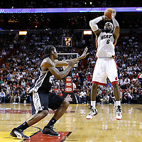 17 January 2012: Miami Heat small forward LeBron James (6) takes a jumpshot over San Antonio Spurs small forward Kawhi Leonard (2) during the Miami Heat 120-98 victory over the San Antonio Spurs at the AmericanAirlines Arena, Miami, Florida, USA.