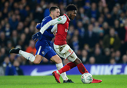 Ainsley Maitland-Niles of Arsenal tackles Eden Hazard of Chelsea - Mandatory by-line: Alex James/JMP - 10/01/2018 - FOOTBALL - Stamford Bridge - London, England - Chelsea v Arsenal - Carabao Cup semi-final first leg