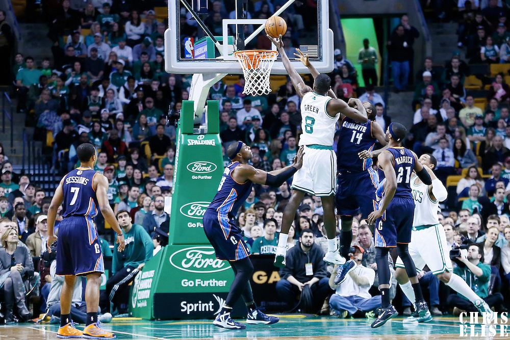 14 January 2013: Boston Celtics power forward Jeff Green (8) goes for the layup over Charlotte Bobcats small forward Michael Kidd-Gilchrist (14) during the Boston Celtics 100-89 victory over the Charlotte Bobcats at the TD Garden, Boston, Massachusetts, USA.
