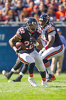06 October 2013: Running back (22) Matt Forte of the Chicago Bears runs the ball against the New Orleans Saints during the first half of the Saints 26-18 victory over the Bears in an NFL Game at Soldier Field in Chicago, IL.