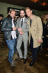 Left to right, SCOTT WALKER, JACK GUINNESS and JACK FOX at the Lancôme BAFTA Dinner held at The Cafe Royal, Regent's Street, London on 6th February 2015.