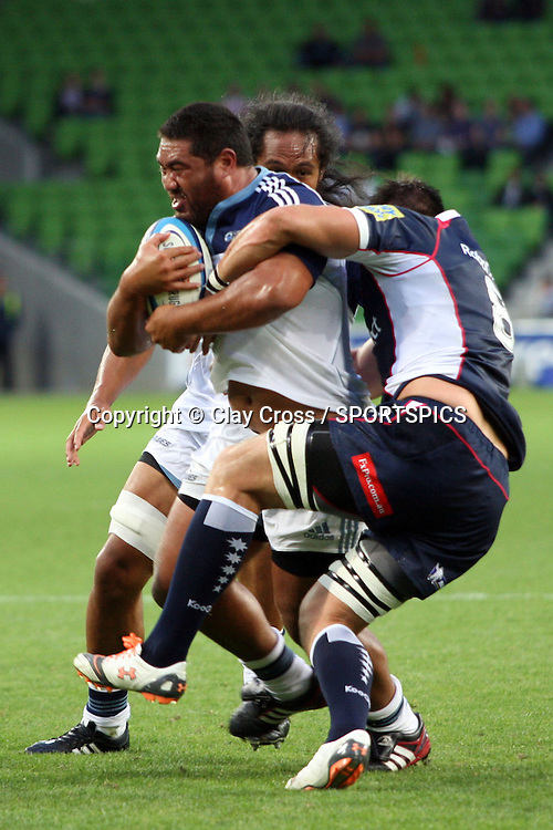 Charlie Faumuina during the Super Rugby pre season, Rebels v Blues, AAMI Park, Melbourne. Saturday 11 February 2012. Photo: Clay Cross/photosport.co.nz