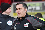 Scunthorpe United manager Paul Hurst during the EFL Sky Bet League 2 match between Scunthorpe United and Colchester United at Glanford Park, Scunthorpe, England on 14 December 2019.