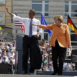 59867212<br /> Governing Mayor Klaus Wowereit (not in frame), Chancellor Angela Merkel and U.S. President Barack Obama after his Speech at Brandenburg Gate in Berlin, Germany, Barack Obama speaks before the Brandenburg Gate in Berlin, Germany, Wednesday June 19, 2013.<br /> UK ONLY