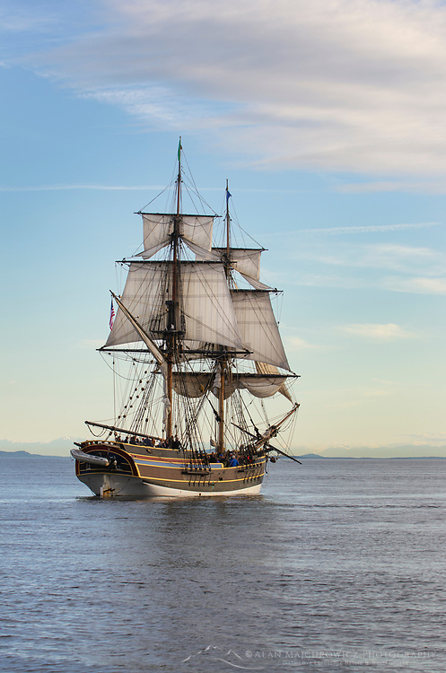 Lady Washington at sail in Semiahmoo Bay, Washington. A historic replica of the original 18th Century brig. Owned and operated by the Grays Harbor Historical Seaport, Aberdeen, Washington