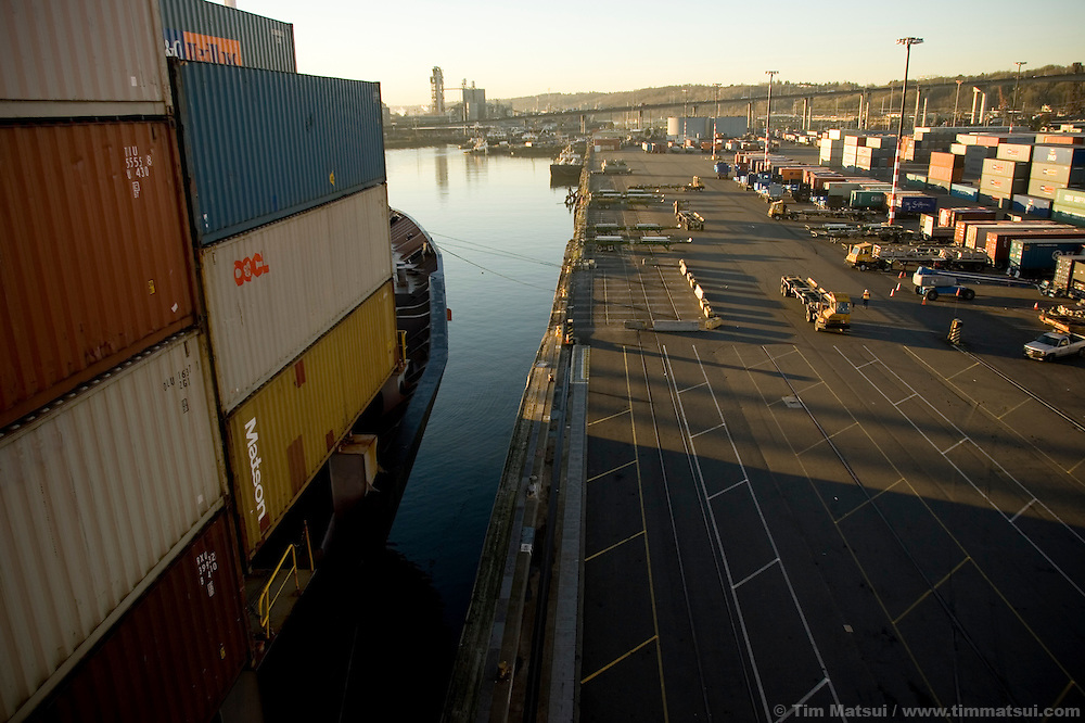 Looking over Terminal 18 at the Port of Seattle where SSA Marine tractor trailers and heavy lifts used for moving containers will soon be running on biodiesel.