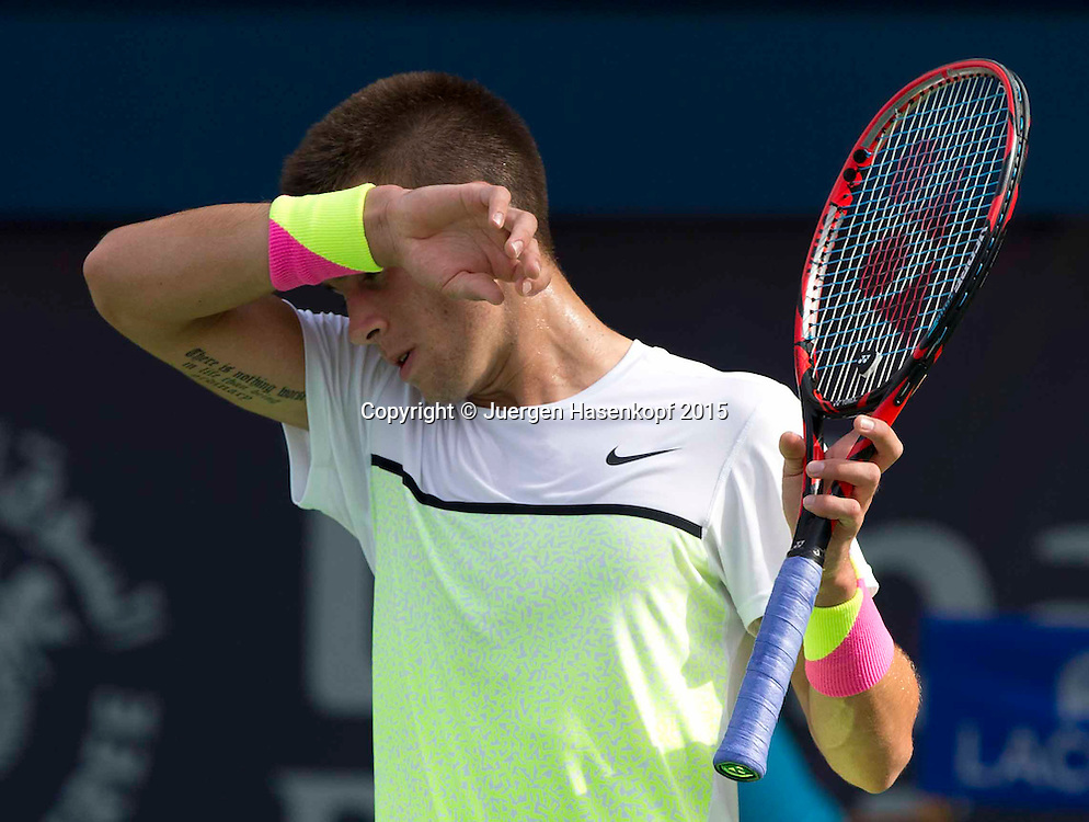 Borna Coric (CRO) mit Tattoo<br /> <br /> Tennis - Dubai Duty Free Tennis Championships - ATP -   - Dubai -  - United Arab Emirates  - 26 February 2015. <br /> &copy; Juergen Hasenkopf