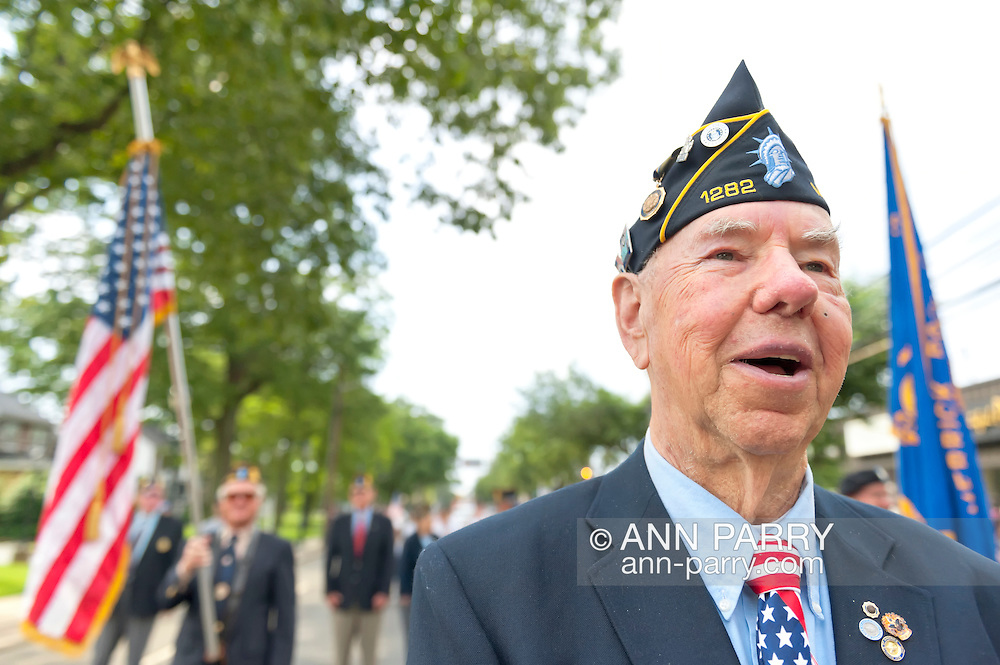 American Legion Commander marching in Merrick Memorial Day Parade on May 28, 2012, on Long Island, New York, USA. Commander Edward Sholander's Merrick Post 1282 hosted the Memorial Day Parade and Ceremonies. America's war heroes are honored on this National Holiday.