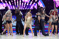 Stacey Dooley (centre) and Aljaz Skorjanec perform during a photocall before the opening night of the Strictly Come Dancing Tour 2019 at the Arena Birmingham.
