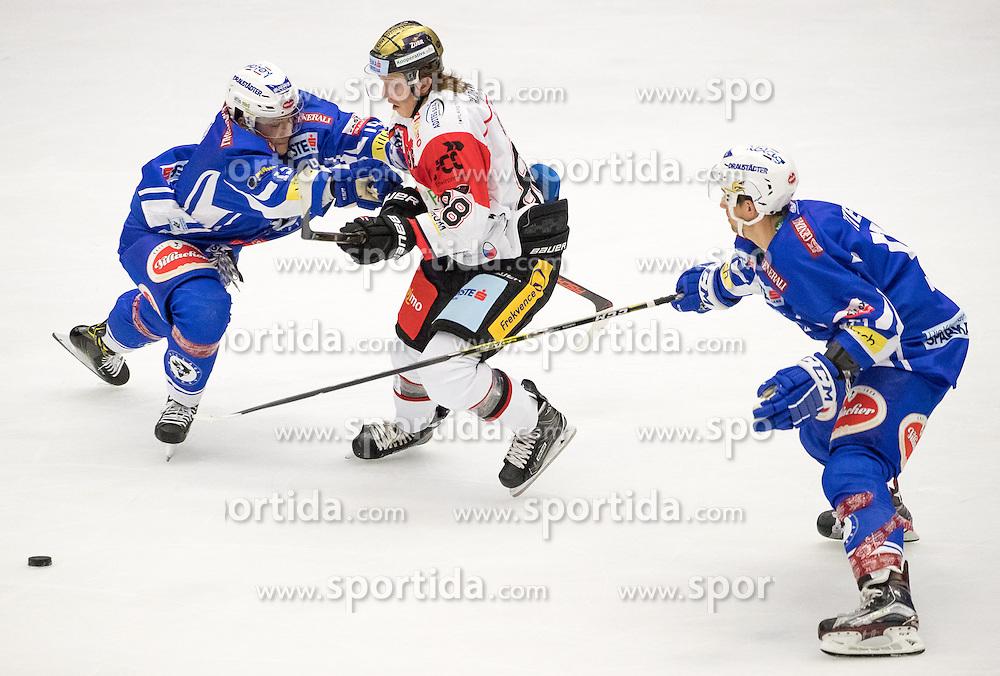 18.09.2016, Stadthalle, Villach, AUT, EBEL, EC VSV vs HC Orli Znojmo, 2. Runde, im Bild v.l. Libor Sulak (Znojmo), Dustin Johner (EC VSV), Eric Hunter (EC VSV) // during the Erste Bank Icehockey League 2nd Round match between EC VSV vs HC Orli Znojmo at the Stadthalle in Villach, Austria on 2016/09/18. EXPA Pictures © 2016, PhotoCredit: EXPA/ Johann Groder