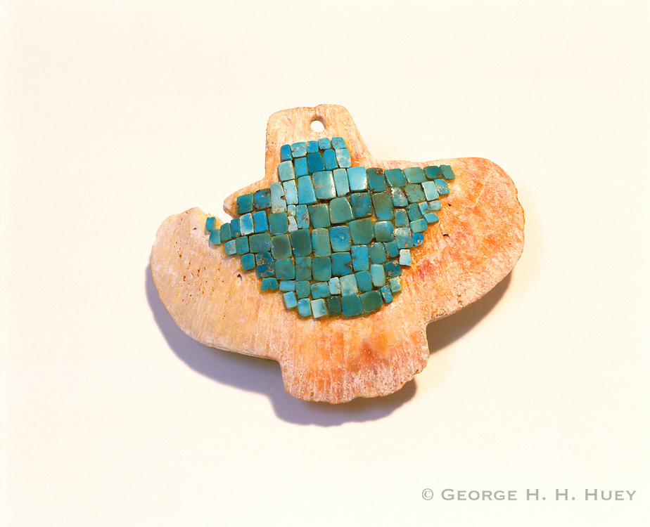 0110-1013 ~ Copyright: George H. H. Huey ~ Sinagua culture [ca. A.D. 1100-1400] [Anasazi] turquoise inlaid shell pendant. Montezuma Castle National Monument, Arizona.