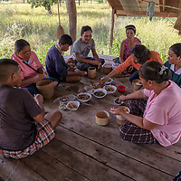 Lunch break during rice harvesting on the fields belonging to Pare's family.