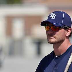 February 18, 2011; Port Charlotte, FL, USA; Tampa Bay Rays catcher John Jaso walks off the field following a spring training practice at Charlotte Sports Park.  Mandatory Credit: Derick E. Hingle