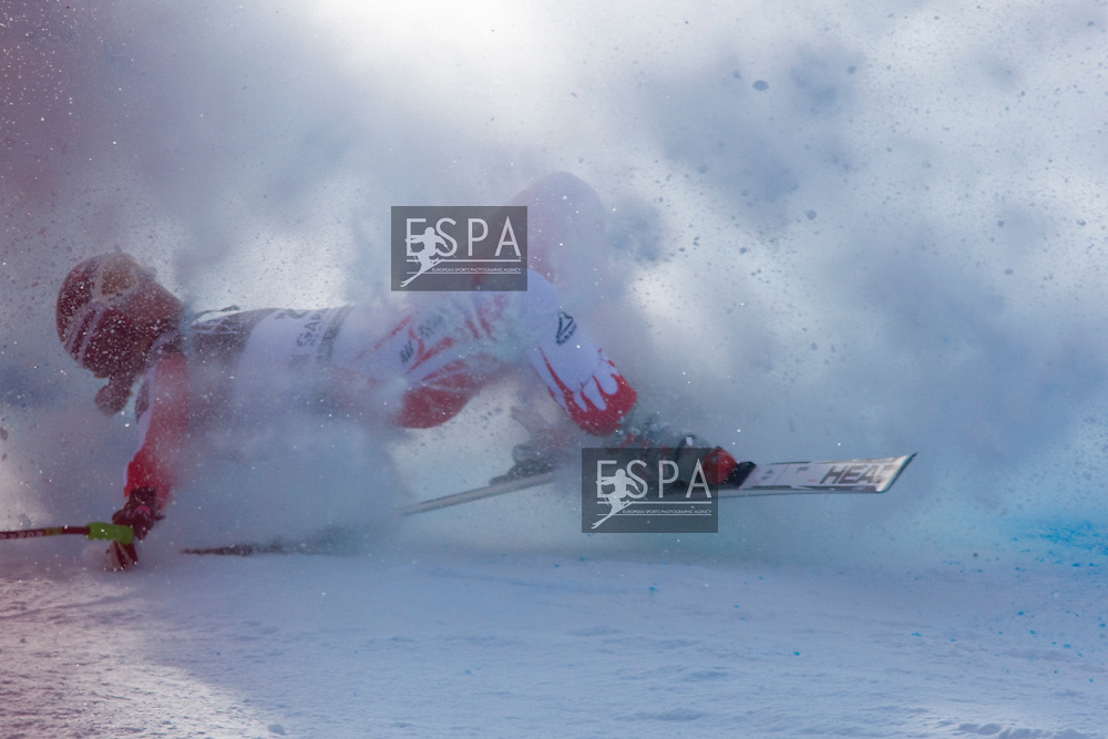GARMISCH PARTENKIRCHEN, GERMANY 10/03/2010. Elizabeth Goergl (AUT) crashes out of the race on the Kandahar course during the downhill race at the Audi FIS Alpine Skiing World Cup Finals the finale to the 2009-2010 season. Mandatory credit: Mitchell Gunn