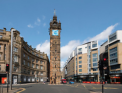 View of Tollbooth steeple or clock tower at Trongate in Glasgow, Scotland, United Kingdom