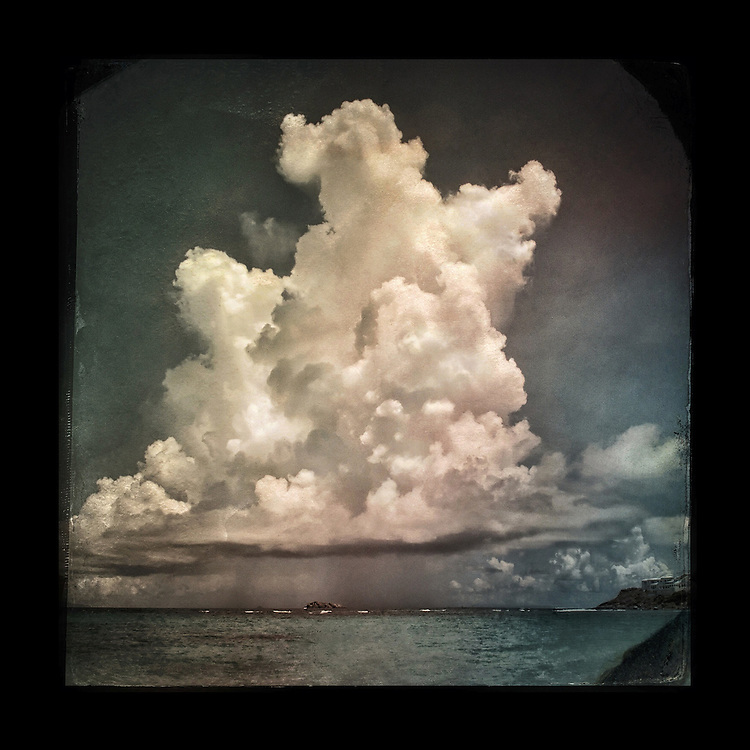 "Charles Blackburn image of cloud in the Caribbean. 5x5"" print."