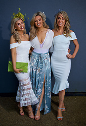 LIVERPOOL, ENGLAND - Thursday, April 6, 2017: [L-R] Lauren Charnley, Shelbie Rowland and Laura Shackleton from Manchester, during The Opening Day on Day One of the Aintree Grand National Festival 2017 at Aintree Racecourse. (Pic by David Rawcliffe/Propaganda)