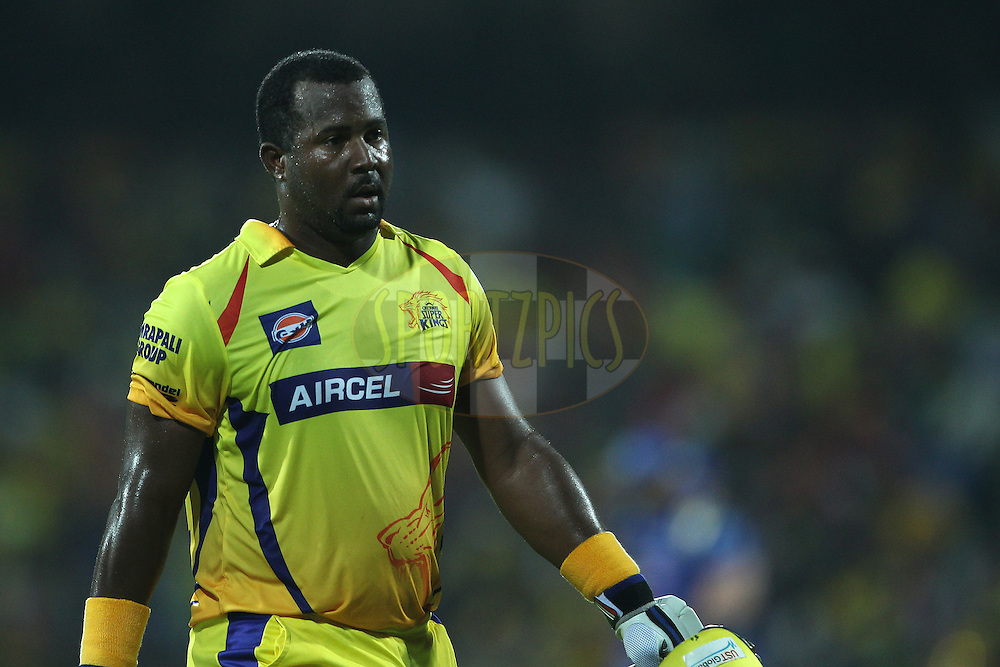 Dwayne Smith of the Chennai Superkings departs during match 43 of the Pepsi IPL 2015 (Indian Premier League) between The Chennai Superkings and The Mumbai Indians held at the M. A. Chidambaram Stadium, Chennai Stadium in Chennai, India on the 8th May April 2015.<br /> <br /> Photo by:  Ron Gaunt / SPORTZPICS / IPL
