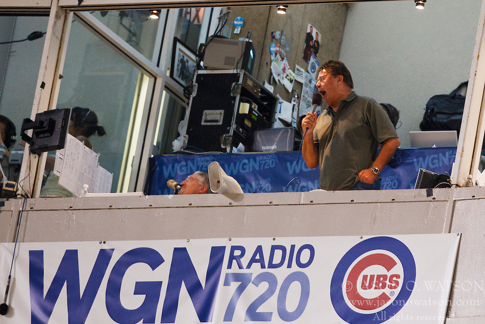 August 16, 2010; Chicago, IL, USA;  Former Chicago Cubs player Ron Santo sings take me out to the ball game during the seventh inning of the game between the Chicago Cubs and the San Diego Padres at Wrigley Field.