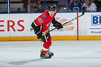 PENTICTON, CANADA - SEPTEMBER 10: Adam Ruzicka #63 of Calgary Flames skates against the Vancouver Canucks on September 10, 2017 at the South Okanagan Event Centre in Penticton, British Columbia, Canada.  (Photo by Marissa Baecker/Shoot the Breeze)  *** Local Caption ***