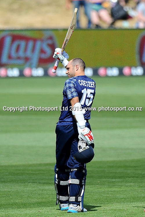 Scotland player Kyle Coetzer celebrates his century during the 2015 ICC Cricket World Cup match between Bangladesh v Scotland. Saxton Oval, Nelson, New Zealand. Thursday 5 March 2015. Copyright Photo: Chris Symes / www.photosport.co.nz