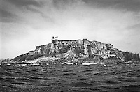 Unusual view of El Morro fort from the water