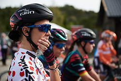 Kasia Niewiadoma (POL) waits to sign on at Ladies Tour of Norway 2018 Stage 3. A 154 km road race from Svinesund to Halden, Norway on August 19, 2018. Photo by Sean Robinson/velofocus.com