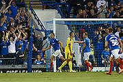 Portsmouth Defender, Christian Burgess (6) scores a goal to make it 1-0 during the Carabao Cup match between Portsmouth and AFC Wimbledon at Fratton Park, Portsmouth, England on 14 August 2018.
