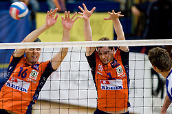 Matej Vidic and Andrej Flajs of ACH at final match of Slovenian National Volleyball Championships between ACH Volley Bled and Salonit Anhovo, on April 24, 2010, in Radovljica, Slovenia. ACH Volley defeated Salonit 3rd time in 3 Rounds and became Slovenian National Champion.  (Photo by Vid Ponikvar / Sportida)